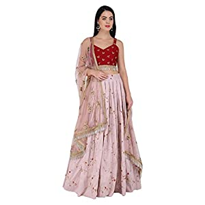 Amaira Wine and Lilac Embroidered Lehenga Set