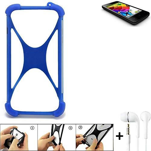 K-S-Trade Handyhülle für Mobistel Cynus E4 Bumper Schutzhülle Silikon Schutz Hülle Cover Case Silikoncase Silikonbumper TPU Softcase Smartphone, Blau (1x), Headphones