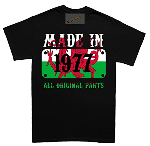 Renowned Made in Wales in 1977 all original Parts Welsh Flag inside Damen T Shirt Schwarz