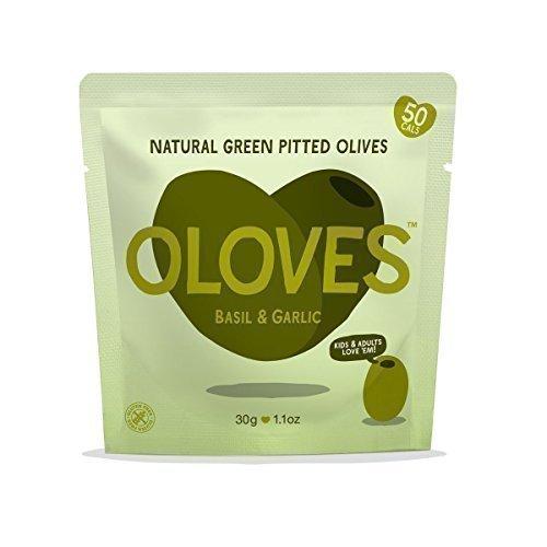 Oloves Natürliche grüne Oliven entkernt, in Basilikum mariniert mit etwas Knoblauch 30g (10 Packungen)