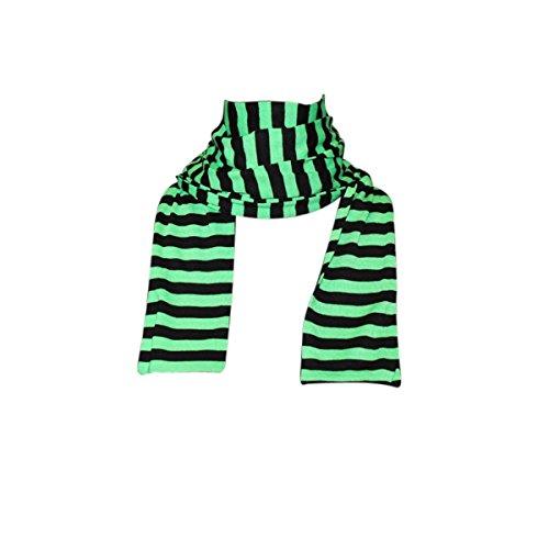 Freak Scene® Schal ° Ringelschal ° Streifenschal ° gestreift und uni, Farbe: schwarz/grün (Gestreiften Schal Grün)