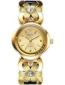 einzigartige Mode Gold der Frauen mit Goldblume und schwarzer Lederband eleganter analoge Armbanduhr Uhrvorwahlknopf