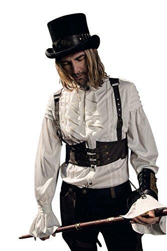RQ-BL Steampunk Herren Harnisch-Weste Braun aus Kunstleder SPM031 Harness Halfter Brustgurt, Größe:S/M