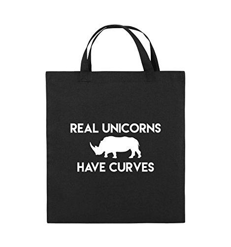 Comedy Bags - REAL UNICORNS HAVE CURVES - Jutebeutel - kurze Henkel - 38x42cm - Farbe: Schwarz / Silber Schwarz / Weiss