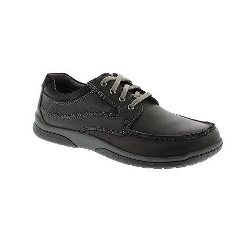 Clarks Détente Homme Chaussures Randle Walk En Cuir Noir