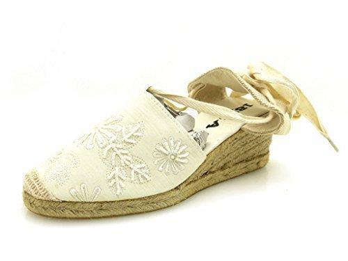 Ibiza Escarpins à talons compensés Espandrilles chaussures d'été Textile Toile crème noir 1235 Crème