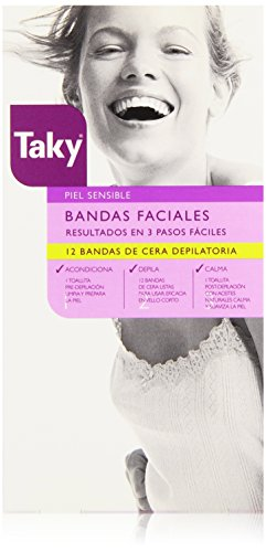 Taky Strisce Ceretta, Bandas Faciales Cera Depilatoria 12 Uds, 200 gr
