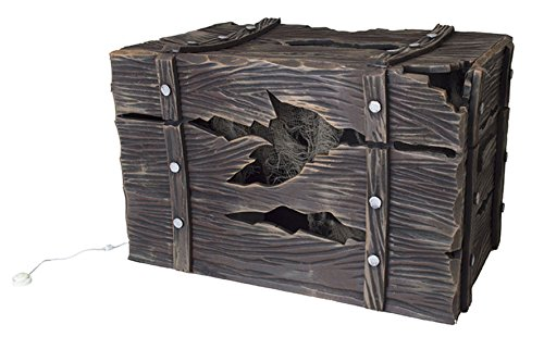Zauberparty - Halloween Dekoration Licht und Sound Grusel Holz Kiste mit gefangener Kreatur Party, 1 Stück 46x30cm, Braun
