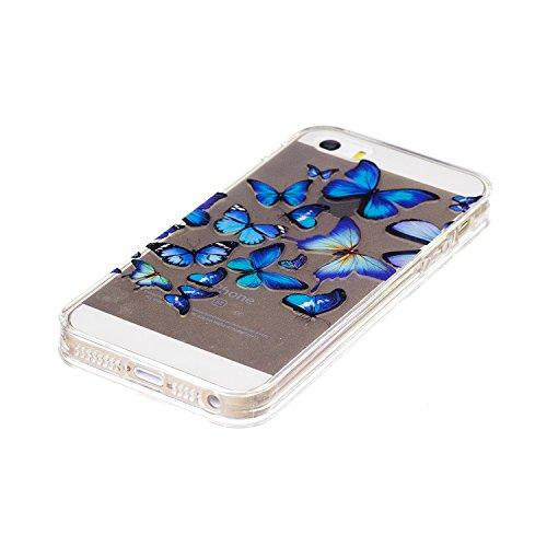 iPhone 5/5S Coque, Voguecase TPU avec Absorption de Choc, Etui Silicone Souple Transparent, Légère / Ajustement Parfait Coque Shell Housse Cover pour Apple iPhone 5 5G 5S SE (Vogue fille 07)+ Gratuit  Papillons bleus 18