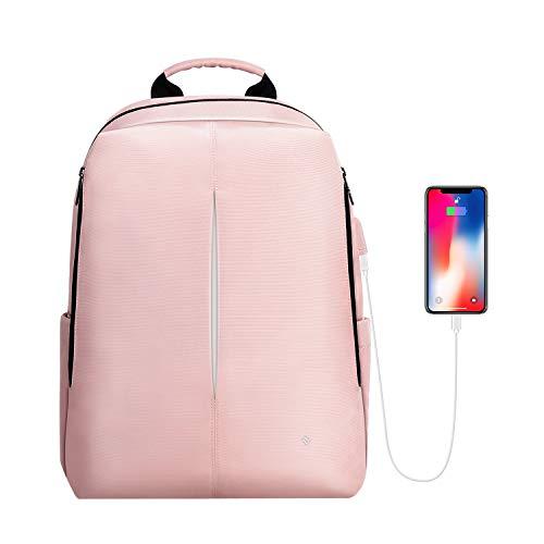 FINPAC Laptop Rucksack, Nano-Molekularer wasserabweisender Schule Daypack aus reißfestem Stoff mit USB-Ladeanschluss für Geschäftsreisen, College, Frauen, Mädchen für 15,6 Zoll Notebook, Rosa - Rosa Laptop-rucksäcke