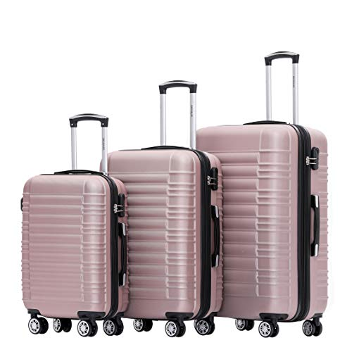 BEIBYE 2088 Zwillingsrollen Reisekoffer Koffer Trolleys Hartschale M-L-XL-Set (Rosa Gold, Set)
