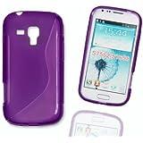 Silikon Case Hülle Etui Handytasche Handykondom Back Cover in lila / violett für Samsung Galaxy Trend GT-S7560 / Duos GT-S7562 / Plus GT-S7580 inkl. World-of-Technik Touchpen