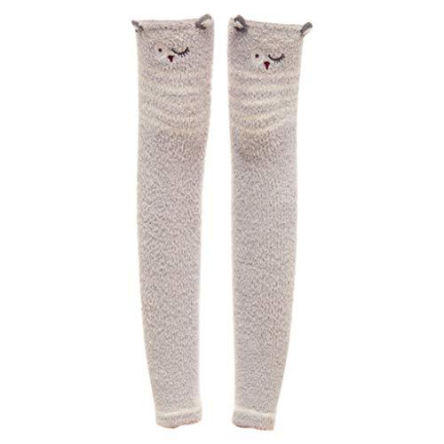 (XuxMim Der Herbst-Winter der Frauen warme nette Karikatur-Stickerei-Knie-Auflagen Socken korallenrotes Fleece)
