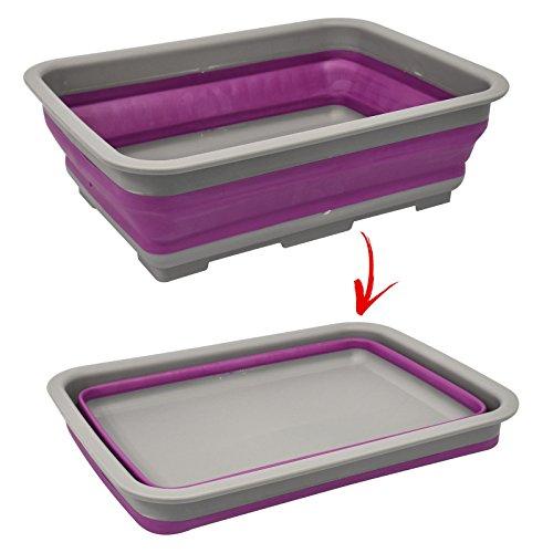 Palangana plegable de silicona y plástico, con un diseño sencillo y abatible...