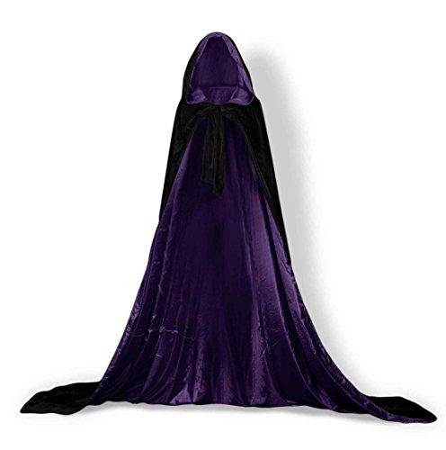 Kostüm Gothic Braut Adult - ShineGown Schwarz Unisex Kapuzen Kap Mittelalterlichen Mantel Adult Halloween Cosplay Kostüm Cape Vintage Männer SAMT Gothic Wicca Robe Damen Lange Hochzeit Braut Wraps