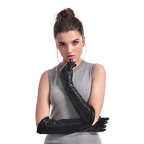 Bellefur Damen Leder-Handschuhe (Wolle Im Innern)für Abendveranstaltung(Winter) Schwarz Size 7