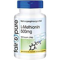 L-Methionin 500mg, vegan, hochdosiert, ohne Magnesiumstearat, 180 Kapseln, 2-Monatsversorgung preisvergleich bei fajdalomcsillapitas.eu