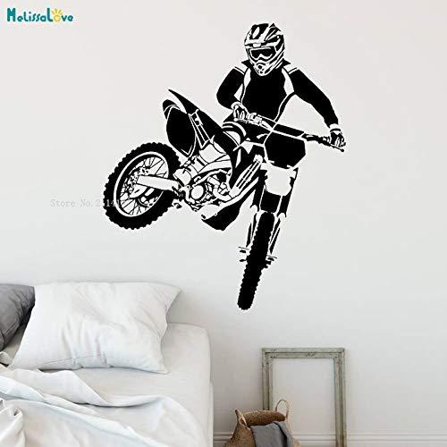 Modeganqingg Adesivi murali Moto da Corsa Decalcomanie artistiche Design Accattivante Decorazione della casa Sportiva Coraggioso Uomo Rimovibile Vinile murale Nero 70x83 cm