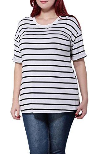 Smile YKK Femme Plus Size Tops T-shirt Rayures Moulante Slim Mode Grosse Taille Noir Blanc