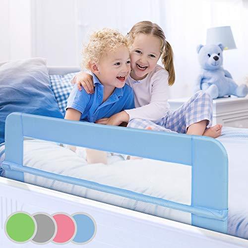 Bettgitter klappbar | Farbwahl, Größe: 150/42cm, einfache Montage, passend für Kinderbetten, Elternbetten | Bettschutzgitter, Kinderbettgitter, Babybettgitter, Gitter, Rausfallschutz (Blau)