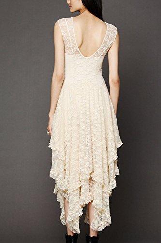 Damen Patchwork unregelmäßige Maxikleid Party Spitzenkleid White