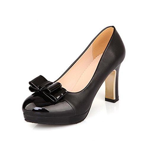 VogueZone009 Damen Rein Hoher Absatz Ziehen auf Rund Zehe Pumps Schuhe, Schwarz, 37 - Dunkelbraune Ziehen