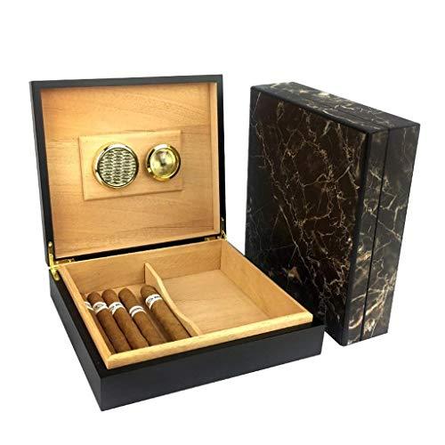 ZLMMY Humidor de cigarros, Cedro y Cuero Caja de Almacenamiento de cigarros Diseño de Sello de Pozo...