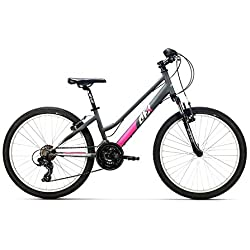 """AFX Bicicleta MTB Junior Mixta 24"""" Rohan, Color Gris/Rosa"""