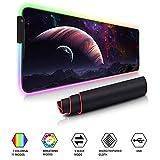 Auveach Tappetino Gioco Gaming Mouse Pad Illuminato a LED RGB Grande 800x300x4mm USB 11 Colori Silicone Antiscivolo (Universo)