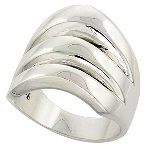Sterling Silver Domed Cigarband Ring w/ 3 splits size