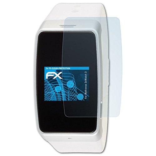 atFoliX Schutzfolie kompatibel mit MyKronoz ZeWatch 3 Folie, ultraklare FX Displayschutzfolie (3X)