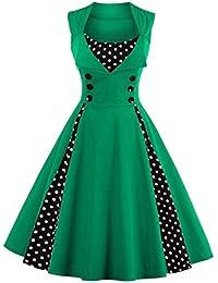 Babyonline® Damen Ärmellos Knielang Vintage 1950er Jahre Rockabilly Pinup Faltenrock Abendkleider Cocktailkleider Petticoat