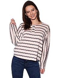 4af2fd1d63d30d KRISP® Women Striped Jumper Ladies Boxy Oversized Batwing Sweater Casual  Pullover Top