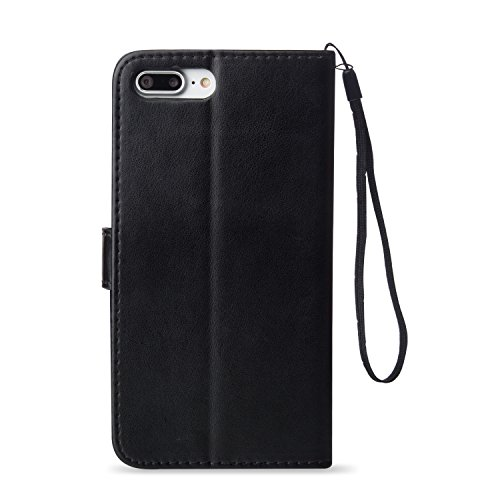 "Etsue Prägung Ledertasche für iPhone 7 Plus 5.5"" 2016 Schutz Hülle Leder Flip Case, [Dream Comes True-Feder Blatt] Retro Elegant Muster Wallet Case Bookstyle PU Leder Brieftasche Hülle Handyhülle Lede Lanyard,Butterfly,schwarz"