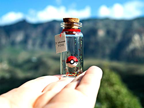 I choose YOU! I'm so glad I found you! Pokemon. Pokemongo. Pokeball. Tiny message in a bottle. Personalised Gift. Funny Card. Valentine Card