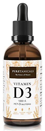 Vitamina D3 1000 IE per goccia altamente dosata testata in laboratorio - scorta a lungo termine con 1700 gocce (50 ml) - in olio di cocco, liquido colecalciferolo, prodotto in Germania senza additivi