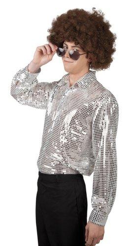 emd Disco mit Pailletten, silber (Silbernes Disco-hemd)