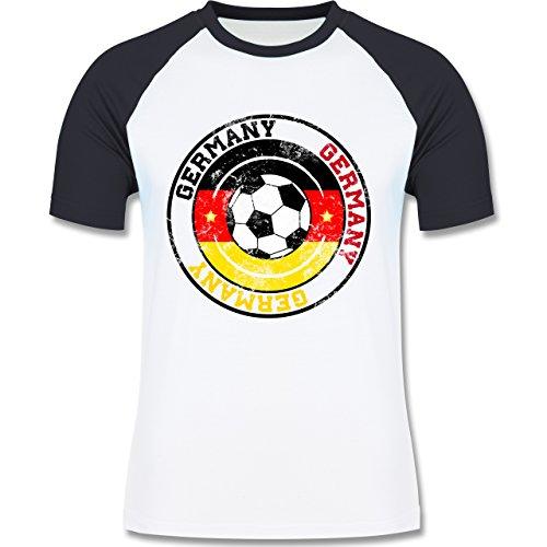 EM 2016 - Frankreich - Germany Kreis & Fußball Vintage - zweifarbiges Baseballshirt für Männer Weiß/Navy Blau