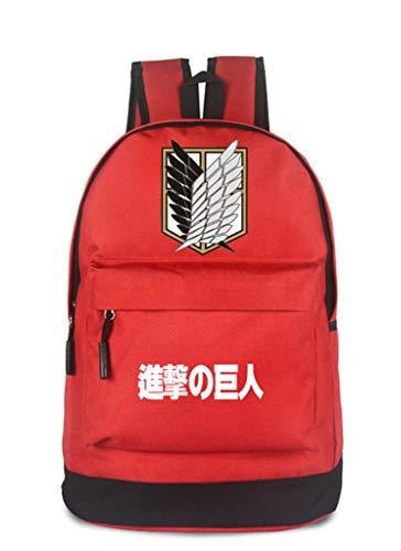 Cosstars Attack on Titan Anime Cosplay Backpack Rucksack Schultasche Freizeittasche Sporttasche /1 Rot (Mikasa Figur)