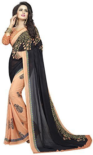 Rensil Women's Georgette Saree (RIE_PLANT BLACK SAREE_Black & Orange_Free Size)