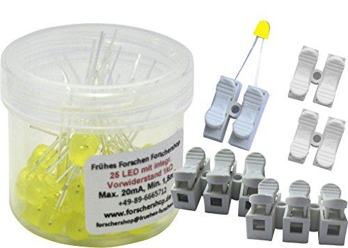 Preisvergleich Produktbild 25 LEDs gelb mit eingebautem Widerstand + 5 Press-Lüsterklemmen (2- und 3-fach) - einfache Handhabung
