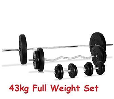 "Barbell EZ Bar & Dumbell Cast Iron Weight Set 43kg Weight Lifting 6ft Barbell + EZ Curl Bar +14"" bars from IQI fitness"