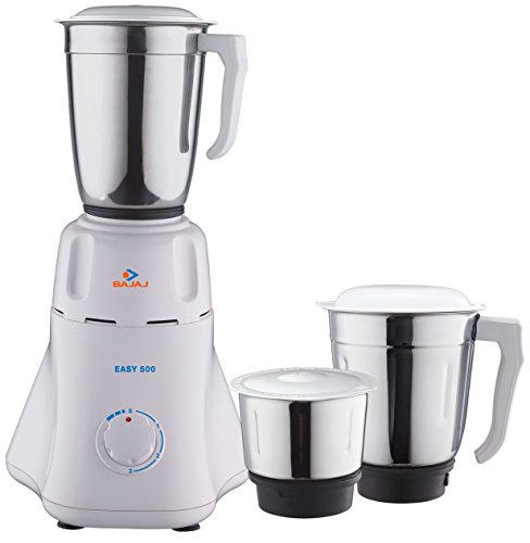 Bajaj Easy 500-Watt Mixer Grinder with 3 Jars (White)