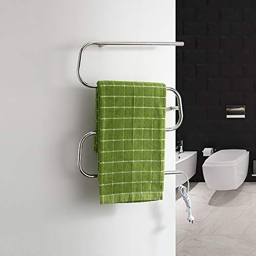 FOUR Sèche-Serviette électrique Support de séchage en Acier Inoxydable, électrique thermostatique Salle de Bains Chauffe-Serviettes radiateur Chrome