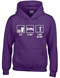 EAT SLEEP LONGBOARD Kinder Sweatshirt mit Kapuze HOODIE Kids Gr.128 - 164 cm