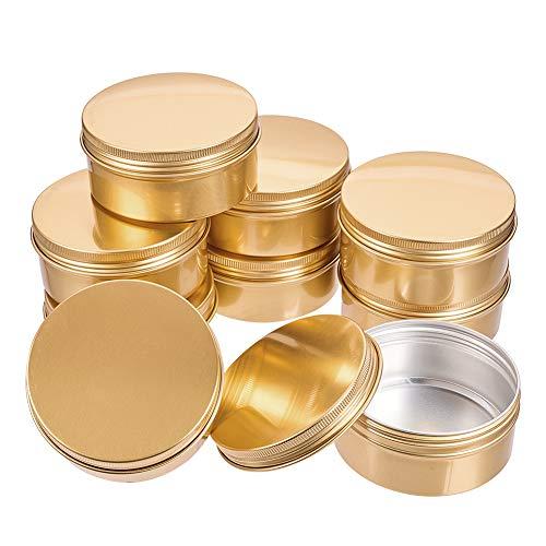 BENECREAT 10 Pack 150ml Lata de Aluminio Redondo Contenedor de Cosmético con Tapa de Rosca - Ideal para Almacenar Pequeñas Cosas(Dorado)