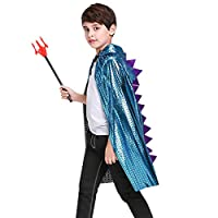 Children Halloween Costume Cloak Hooded Cape Animal Dinosaur Cosplay Costume Fancy Dress Kids Girls Boys Witch Wizard Costume Cape Magician Robe Shiny Poncho Christmas Costume Party Accessory Props