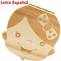 Westeng Caja Almacenamiento Madera Almacenaje para Dientes De Leche,1Pcs (Chica Español)