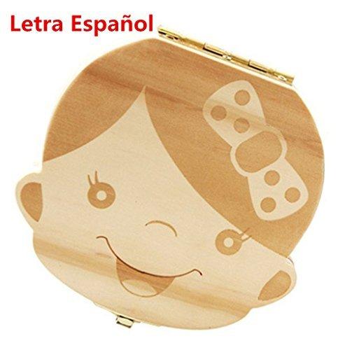 Westeng 1Pcs Caja Almacenamiento Madera Almacenaje para Dientes De Leche Niño Español