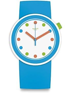 Swatch Unisex-Armbanduhr Analog Analog One Size, weiß, blau